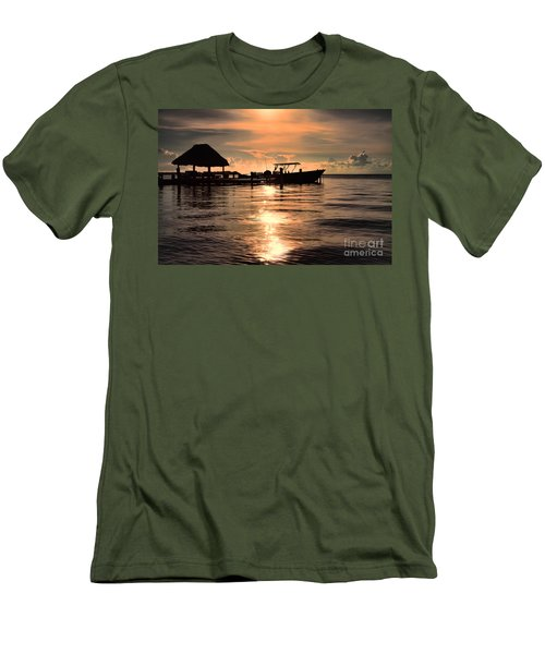 Men's T-Shirt (Slim Fit) featuring the photograph Caye Caulker At Sunset by Lawrence Burry