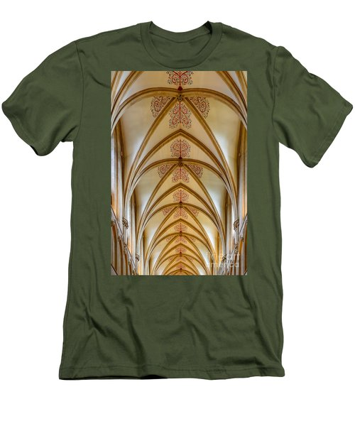 Ceiling, Wells Cathedral. Men's T-Shirt (Slim Fit) by Colin Rayner