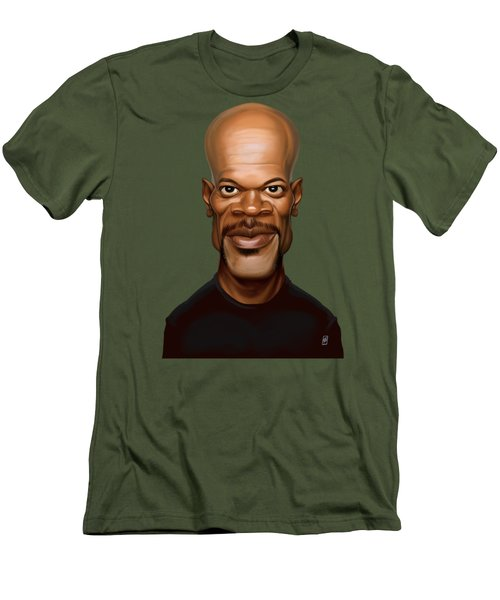 Men's T-Shirt (Slim Fit) featuring the drawing Celebrity Sunday - Samuel L Jackson by Rob Snow