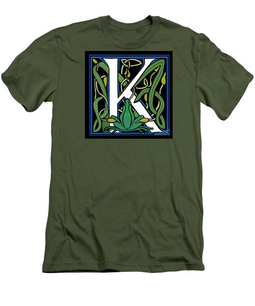 Men's T-Shirt (Slim Fit) featuring the digital art Celt Frog Letter K by Donna Huntriss