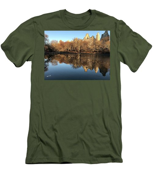 Men's T-Shirt (Slim Fit) featuring the photograph Central Park City Reflections by Madeline Ellis