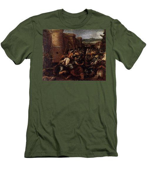 Cesari Giuseppe St Clare With The Scene Of The Siege Of Assisi Men's T-Shirt (Athletic Fit)