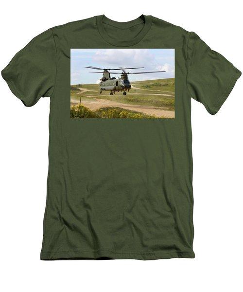 Ch47 Chinook In The Dust Bowl Men's T-Shirt (Slim Fit) by Ken Brannen