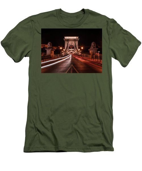 Chain Bridge At Midnight Men's T-Shirt (Slim Fit) by Jaroslaw Blaminsky