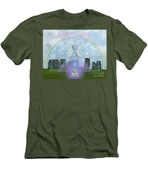 Chalice Over Stonehenge In Flower Of Life And Man Men's T-Shirt (Slim Fit) by Christopher Pringer