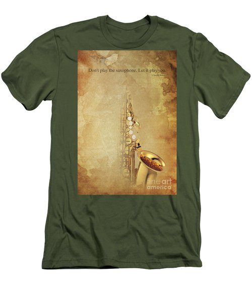 Charlie Parker Saxophone Brown Vintage Poster And Quote, Gift For Musicians Men's T-Shirt (Slim Fit)