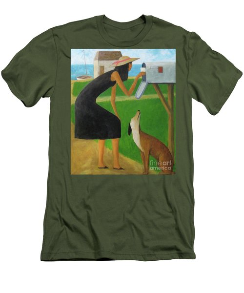 Men's T-Shirt (Slim Fit) featuring the painting Checking The Box by Glenn Quist