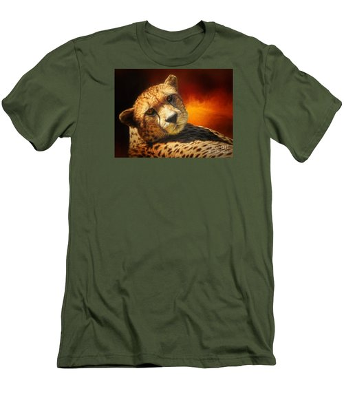 Cheetah Men's T-Shirt (Slim Fit) by Suzanne Handel