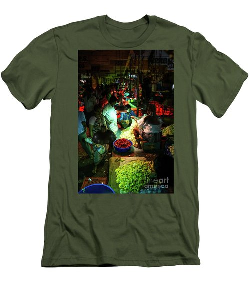 Men's T-Shirt (Slim Fit) featuring the photograph Chennai Flower Market Stalls by Mike Reid