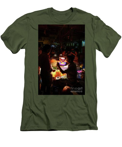 Men's T-Shirt (Slim Fit) featuring the photograph Chennai Flower Market Transaction by Mike Reid
