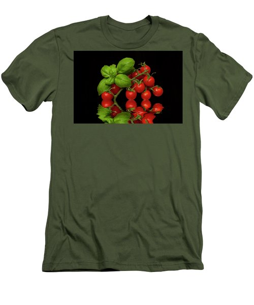 Men's T-Shirt (Slim Fit) featuring the photograph Cherry Tomatoes And Basil by David French