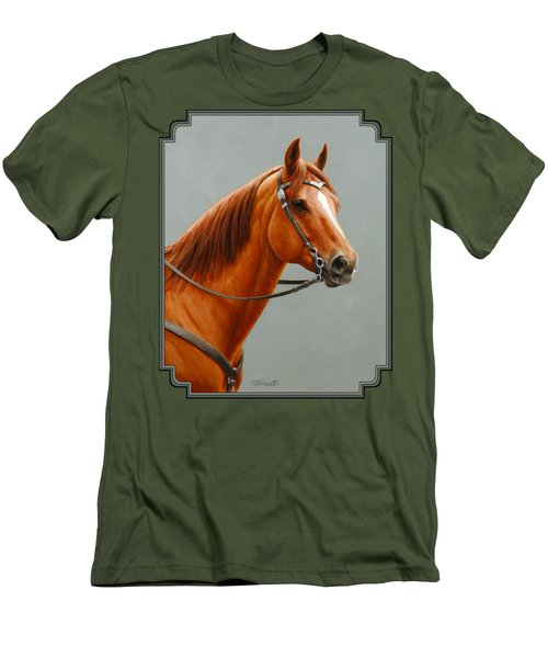 Chestnut Dun Horse Painting Men's T-Shirt (Slim Fit) by Crista Forest