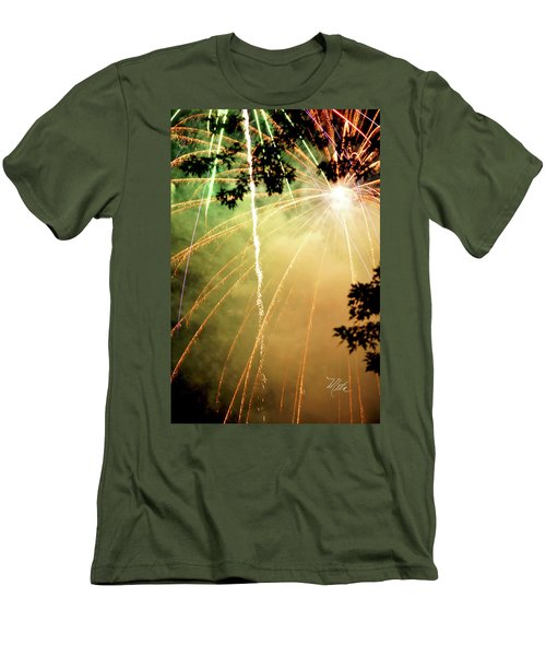 Chetola Yellow Fireworks Men's T-Shirt (Slim Fit) by Meta Gatschenberger