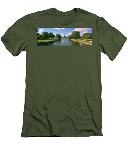 Chicago From Lincoln Park, Illinois Men's T-Shirt (Slim Fit) by Panoramic Images