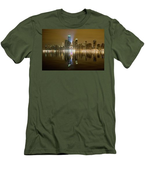 Men's T-Shirt (Slim Fit) featuring the photograph Chicago Skyline With Lindbergh Beacon On Palmolive Building by Peter Ciro