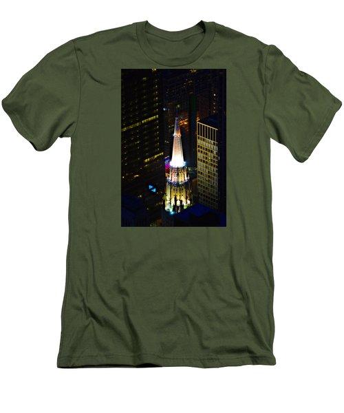 Chicago Temple Building Steeple Men's T-Shirt (Slim Fit) by Richard Zentner