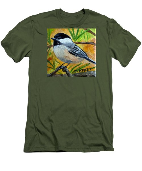Chickadee In The Pines - Birds Men's T-Shirt (Slim Fit) by Julie Brugh Riffey