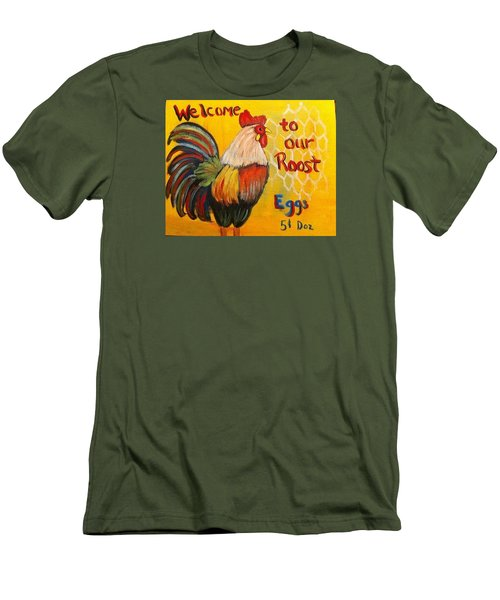 Men's T-Shirt (Slim Fit) featuring the painting Chicken Welcome Sign 8 by Belinda Lawson