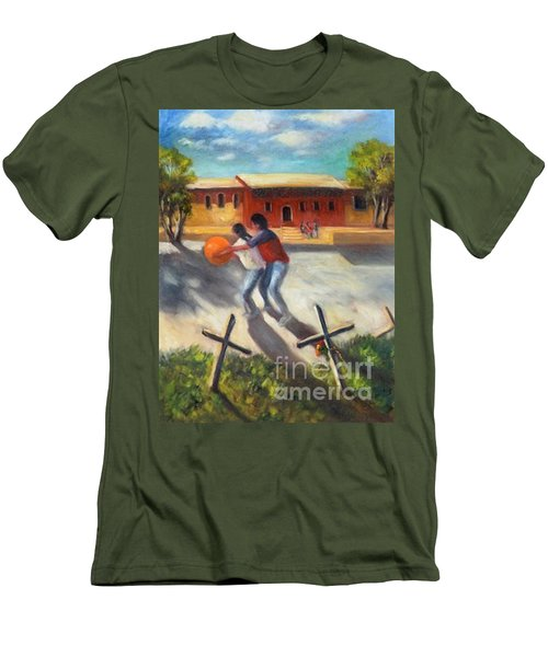 Men's T-Shirt (Slim Fit) featuring the painting Tres Cruces De La Juventud Y La Vejez by Randol Burns