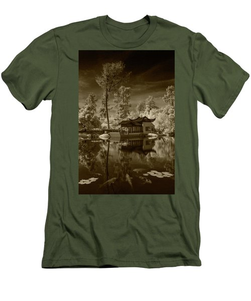 Men's T-Shirt (Slim Fit) featuring the photograph Chinese Botanical Garden In California With Koi Fish In Sepia Tone by Randall Nyhof