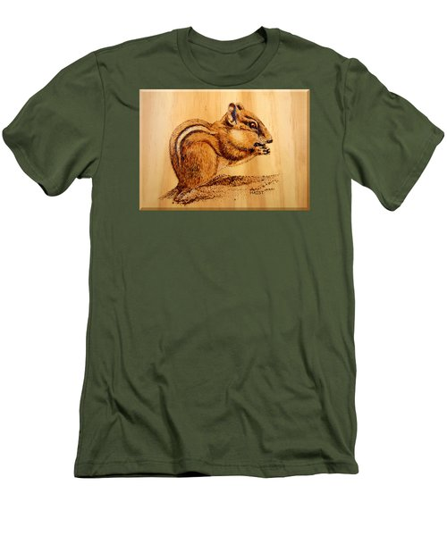 Men's T-Shirt (Slim Fit) featuring the pyrography Chippies Lunch by Ron Haist