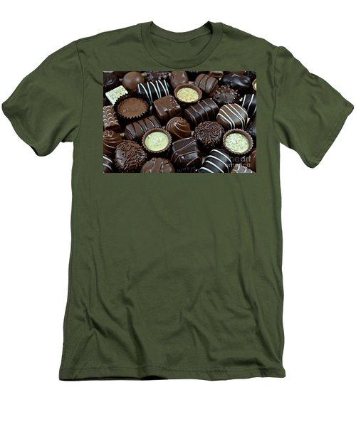 Chocolates Men's T-Shirt (Slim Fit) by Vivian Krug Cotton