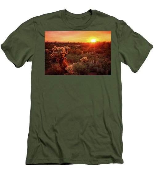 Men's T-Shirt (Slim Fit) featuring the photograph Cholla Sunset In The Sonoran  by Saija Lehtonen