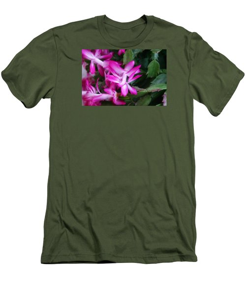 Men's T-Shirt (Slim Fit) featuring the photograph Christmas Cactus by Joan Bertucci