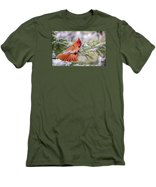 Men's T-Shirt (Slim Fit) featuring the photograph Christmas Cardinal by Brian Tarr