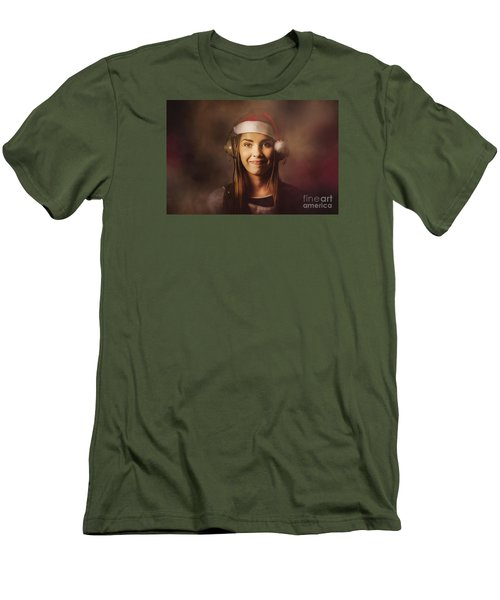 Men's T-Shirt (Athletic Fit) featuring the photograph Christmas Disco Dj Woman by Jorgo Photography - Wall Art Gallery