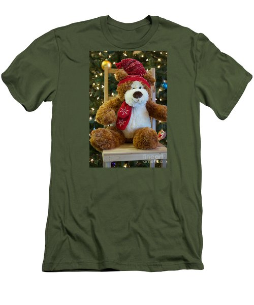 Men's T-Shirt (Slim Fit) featuring the photograph Christmas Teddy Bear by Vinnie Oakes