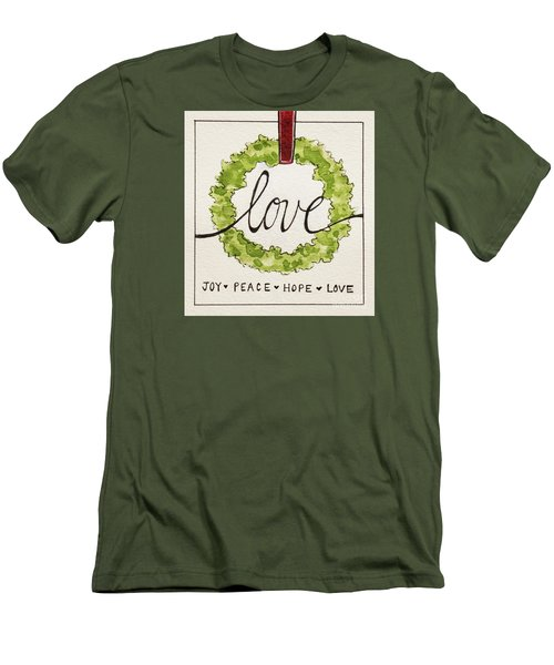 Christmas Wreath Men's T-Shirt (Slim Fit) by Elizabeth Robinette Tyndall
