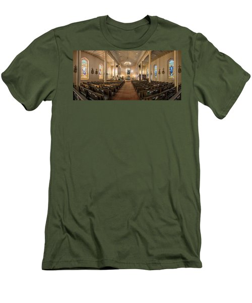 Men's T-Shirt (Slim Fit) featuring the photograph Church Of The Assumption Of The Blessed Virgin Pano 2 by Andy Crawford