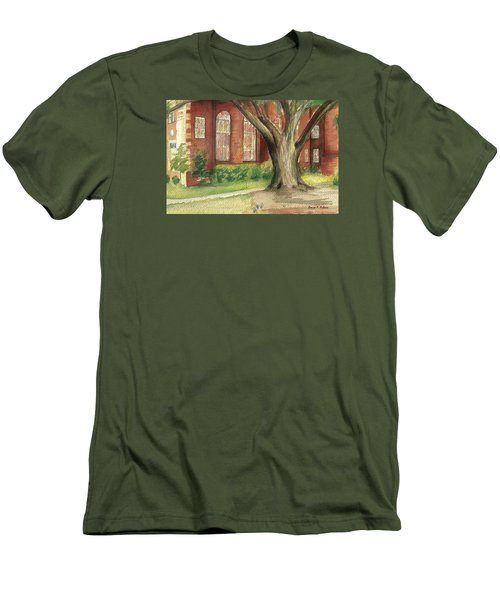 Men's T-Shirt (Slim Fit) featuring the painting Church Tree by Denise Fulmer