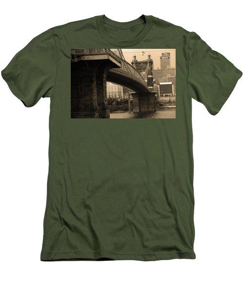 Cincinnati - Roebling Bridge 2 Sepia Men's T-Shirt (Slim Fit) by Frank Romeo