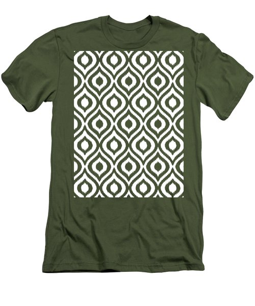 Circle And Oval Ikat In White T05-p0100 Men's T-Shirt (Athletic Fit)