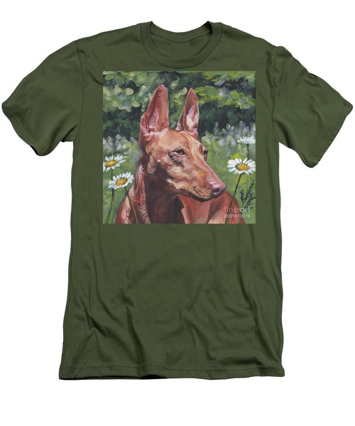 Men's T-Shirt (Slim Fit) featuring the painting Cirneco Dell'etna by Lee Ann Shepard