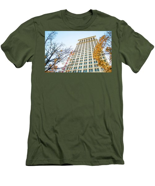 Men's T-Shirt (Slim Fit) featuring the photograph City Federal Building In Autumn - Birmingham, Alabama by Shelby Young
