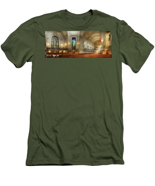 Men's T-Shirt (Athletic Fit) featuring the photograph City - Naval Academy - God Is My Leader by Mike Savad