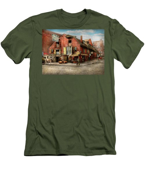 Men's T-Shirt (Slim Fit) featuring the photograph City - Pa - Fish And Provisions 1898 by Mike Savad