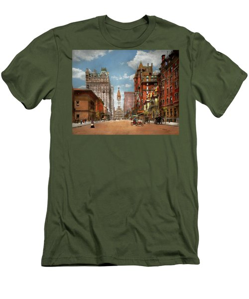 Men's T-Shirt (Athletic Fit) featuring the photograph City - Pa Philadelphia - Broad Street 1905 by Mike Savad