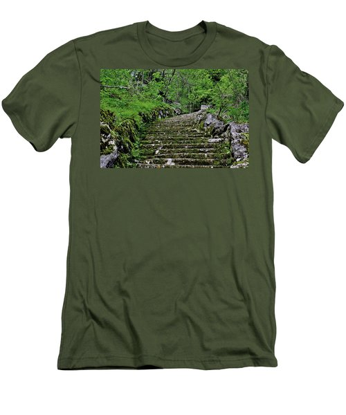Men's T-Shirt (Slim Fit) featuring the photograph Clark Reservation  by Suzanne Stout