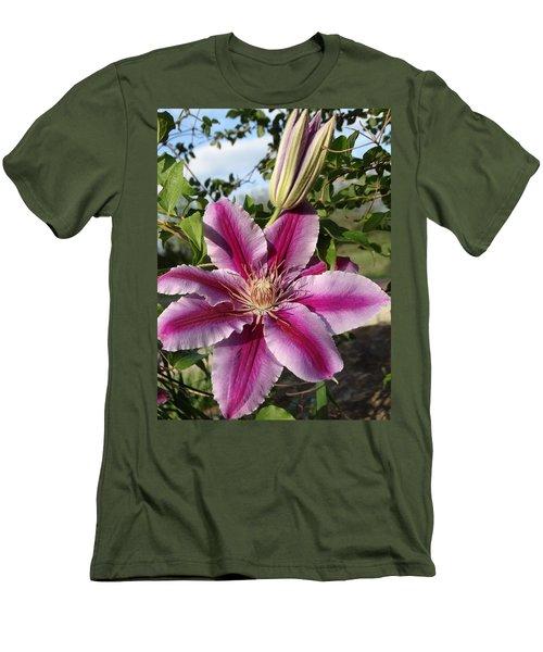 Clematis Petals Men's T-Shirt (Slim Fit) by Rebecca Overton