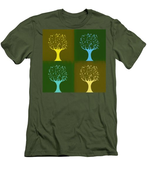 Men's T-Shirt (Slim Fit) featuring the mixed media Clip Art Trees by Dan Sproul