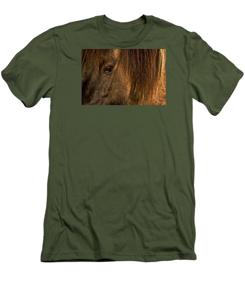 Closeup Of An Icelandic Horse #2 Men's T-Shirt (Slim Fit) by Stuart Litoff