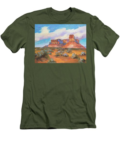 Men's T-Shirt (Slim Fit) featuring the painting Clouds Passing Monument Valley by Diane McClary