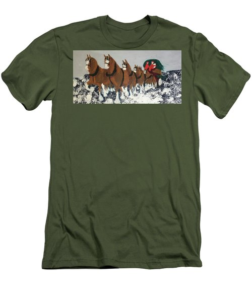 Men's T-Shirt (Athletic Fit) featuring the painting Clydsdale Horses Bringing Home The Tree by Donald J Ryker III