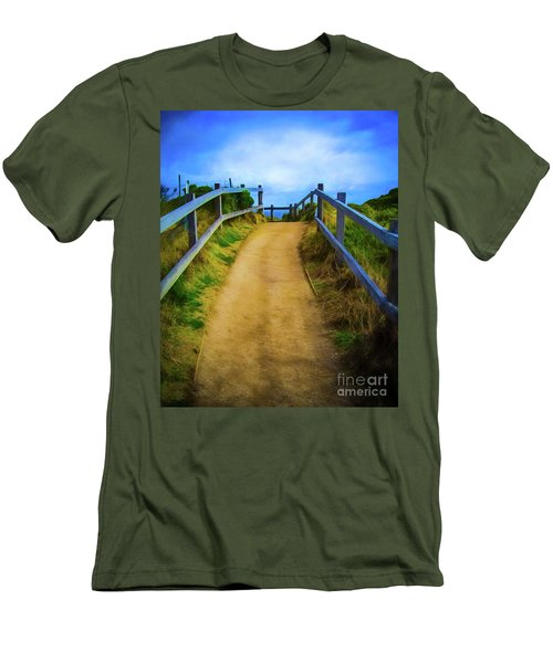 Men's T-Shirt (Slim Fit) featuring the photograph Coast Path by Perry Webster