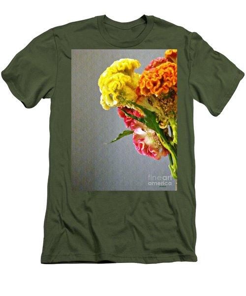 Men's T-Shirt (Slim Fit) featuring the photograph Cockscomb Bouquet 4 by Sarah Loft