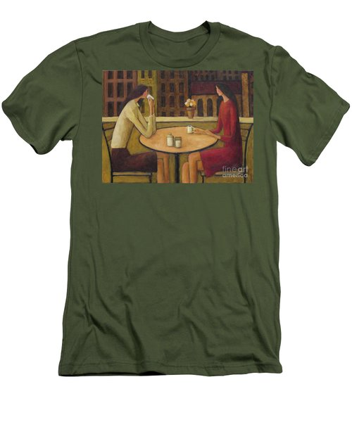 Men's T-Shirt (Slim Fit) featuring the painting Coffee Break by Glenn Quist